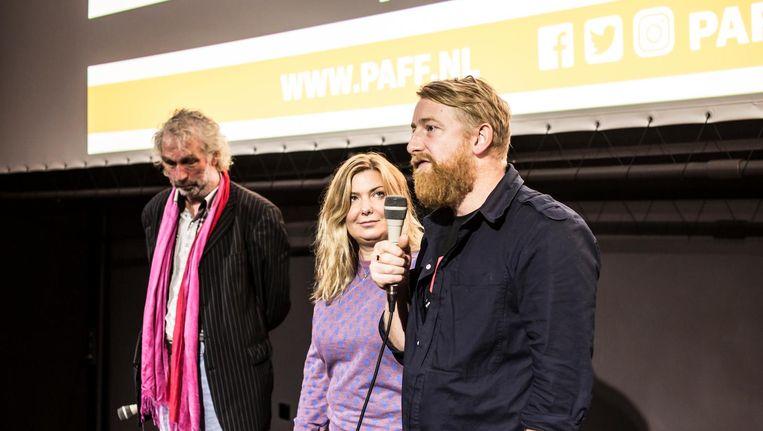 Regisseurs en Dorota Kobiela en Hugh Welchman tijdens een Q&A op Parool Film Fest Beeld Eva Plevier