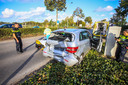 Tractor botst op auto in Helmond