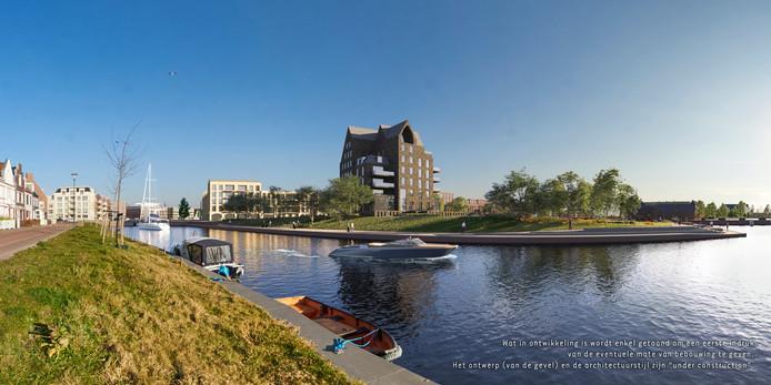 Het oorspronkelijke ontwerp van de parkvilla in het Waterfront in Harderwijk riep veel weerstand op.