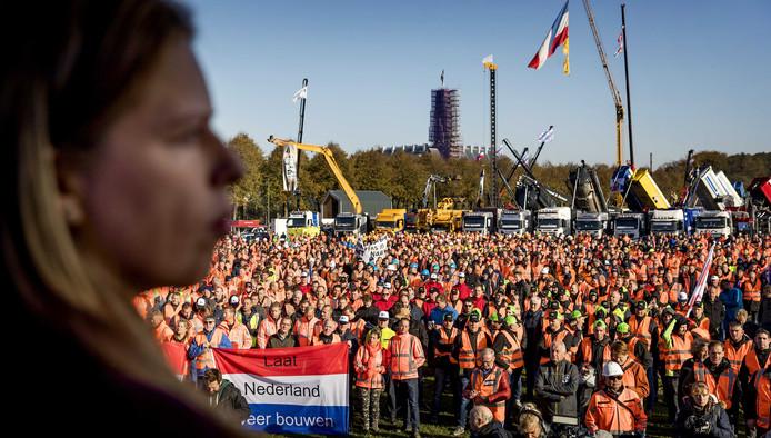 Protest van de bouwers op het Malieveld tegen de maatregelen van het kabinet.