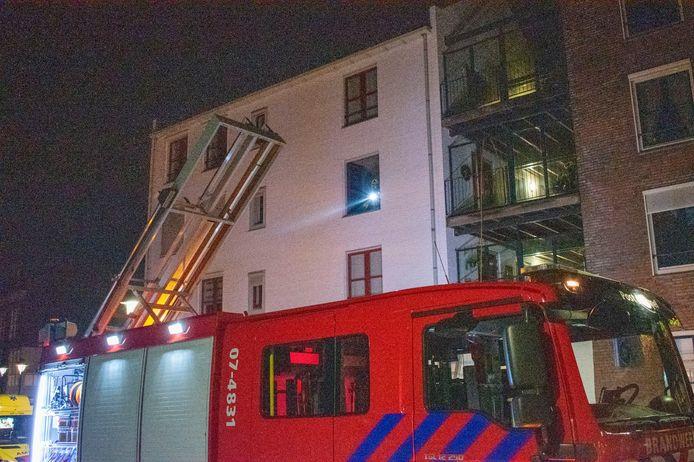 De brandweer ter plaatse.