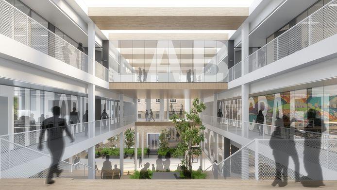 Een impressie van de nieuwbouw van het Van Maerlantlyceum in Eindhoven met de tribunetrap en de nieuwe lokalen en praktijkruimtes. Ontwerp: architectenbureau cepezed