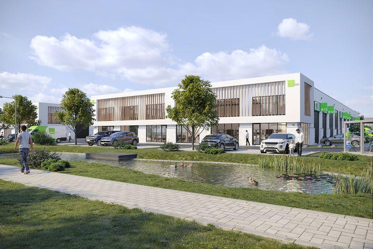 Het bedrijvenpark krijgt ook verschillende groene accenten.