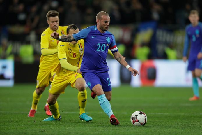 Wesley Sneijder aan de bal.