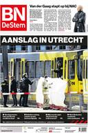 De voorpagina van 19 maart 2019. Een zwarte dag, toen een man begon te schieten in een tram in Utrecht.