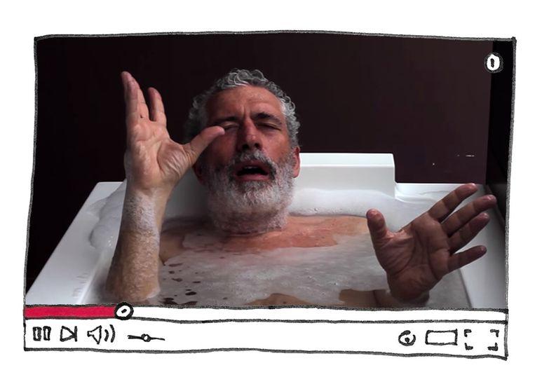 Marco Mencoboni in een van zijn Youtubefilmpjes.  Beeld Ilustratie Studio V