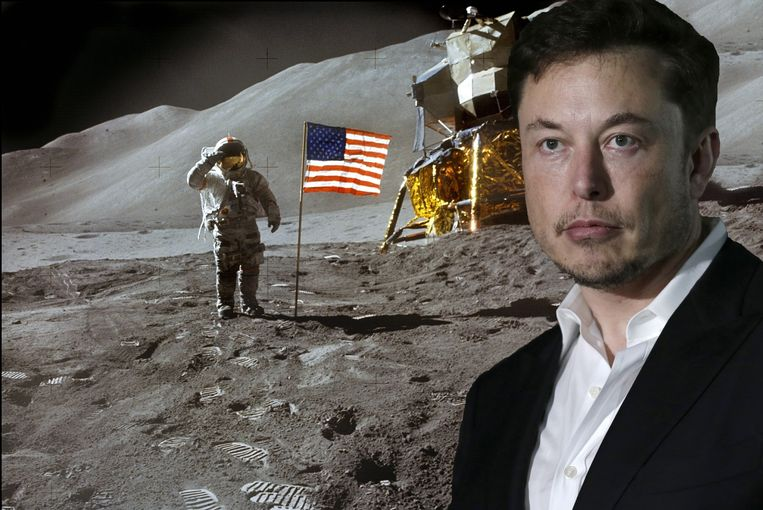 Edwin E. Aldrin op de maan in 1969. Rechts Elon Musk.