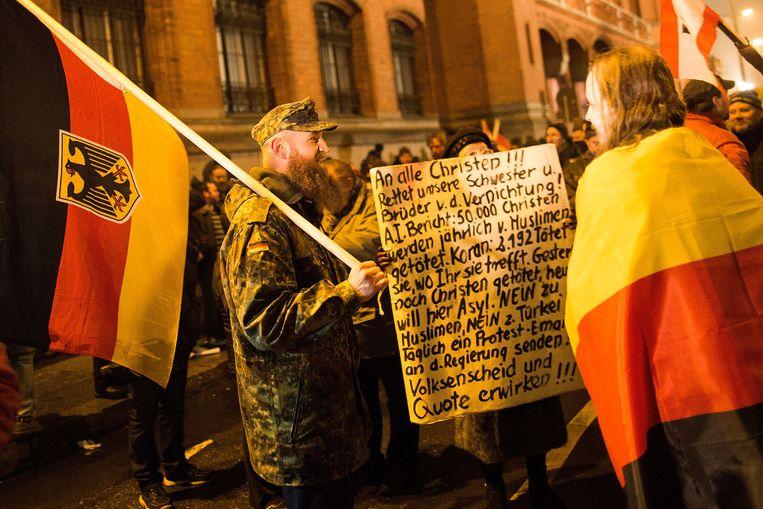 Aanhangers van Pegida in Berlijn op maandag 5 januari. Beeld getty