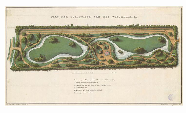 'Plan der voltooiing van het Vondelspark' 1865. Beeld