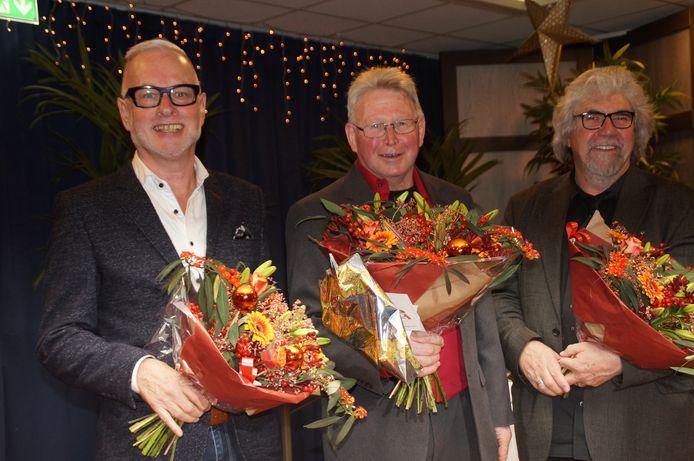 De drie winnaars van het Brabantse kerstgedicht 2017: Jacques van Gerwen, Wim van Lier en Piet Snijders (vlnr).
