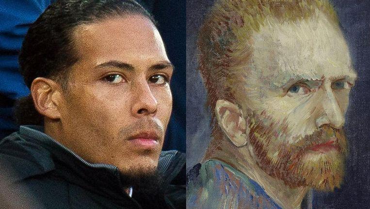 Virgil van Dijk en Vincent van Gogh. Beeld anp