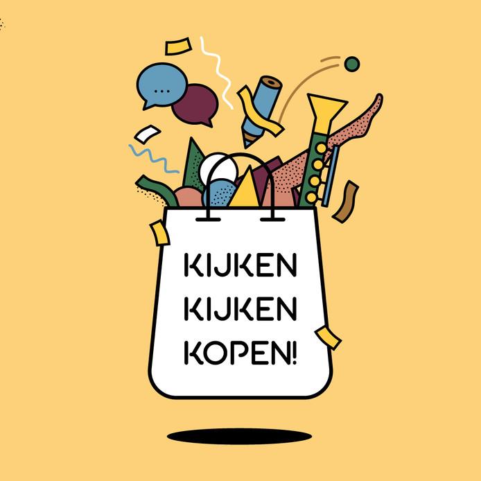 Vignet van de culturele koopzondag 'Kijken kijken kopen' van BLIKprojecten.