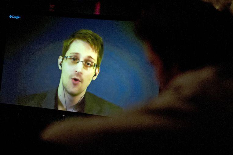 Snowden tijdens een videoconferentie. Beeld anp