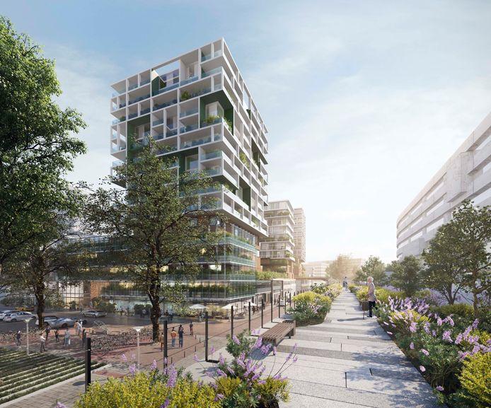 Met een bruggetje over de Vijverhofstraat wordt het nieuwe Zomerhofkwartier verbonden met de Hofbogen.