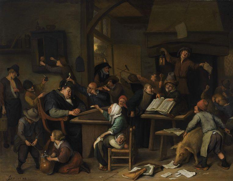 Een schoolklas met een slapende schoolmeester van Jan Steen uit 1672. Op het doek zijn leerlingen uit een Leidse schoolklas afgebeeld die kattenkwaad uithalen. Duidelijk is te zien hoe een jongen in een kan plast en hoe iemand de rok van een meisje omhoogtrekt, waardoor haar billen zichtbaar worden. Beeld anp