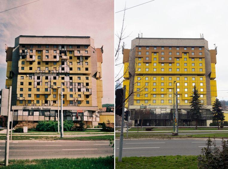 Het Holiday Inn, gebouwd voor de Olympische Spelen van 1984, was in de oorlog de uitvalsbasis van veel tv-ploegen. Het gebouw lag aan de beruchte 'Sniper Alley', de gevaarlijkste plek van de stad. Het is herbouwd in de originele stijl van architect Ivan Straus. Beeld Jim Marshall