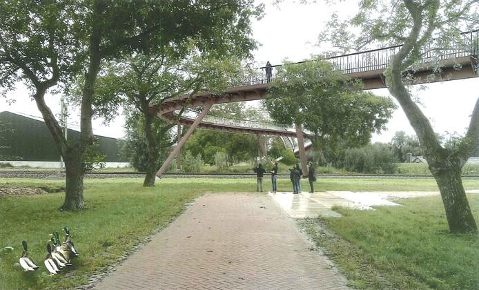 Voetgangers over de brug kunnen een blik werpen door de lange Notenlaan richting de Kasteeltuin.