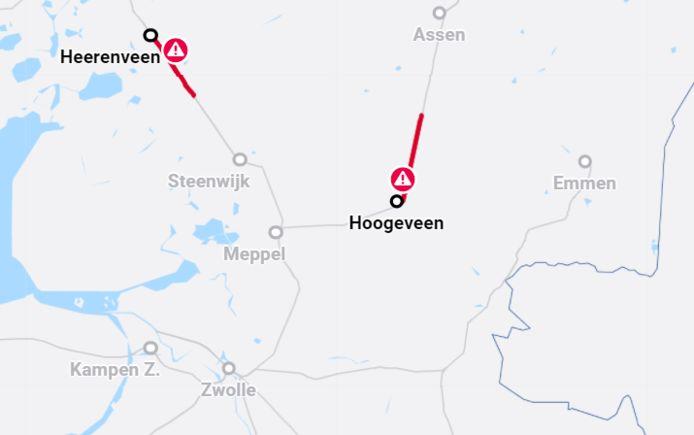 De stremmingen tussen Zwolle en Noord-Nederland