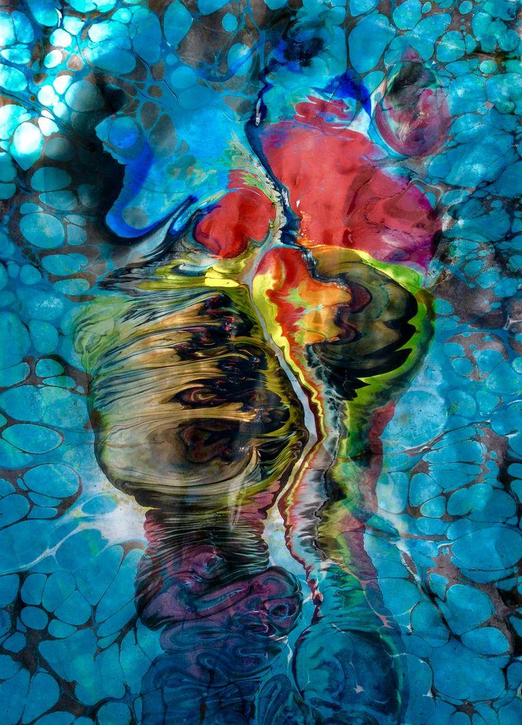 Werk van Ebru-kunstenaar Yusuf Akkaya. Beeld Yusuf Akkaya