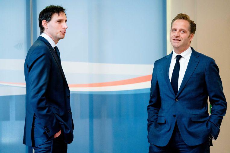 Minister Wopke Hoekstra en Hugo de Jonge (r), twee potentiële CDA-partijleiders. Beeld ANP