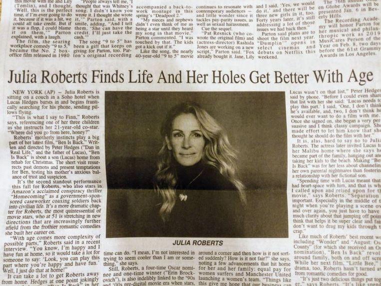De gênante kop boven het verder uitstekende stuk over Julia Roberts.