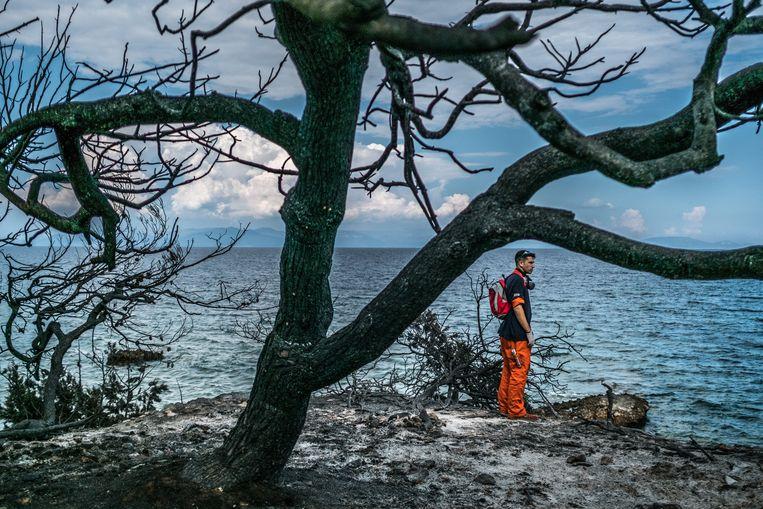 Een vrijwilliger kijkt naar de schade die de bosbranden hebben aangericht bij de badplaats Mati in de buurt van de Griekse hoofdstad Athene. Beeld Joris Van Gennip