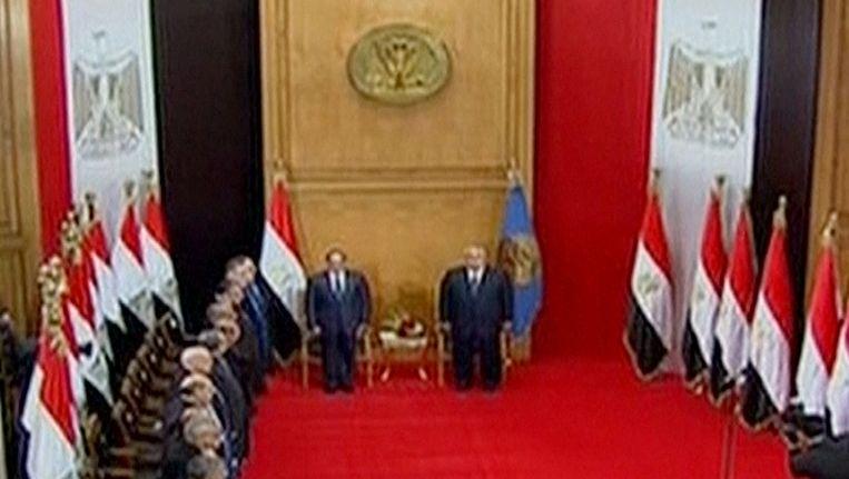 Beeld van de inhuldigingsceremonie in de Egyptische hoofdstad Caïro Beeld ap