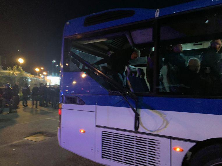 De schade aan een bus