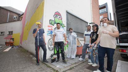 Vijf jongeren maken 3D-muurschildering aan oud gerechtshof in Hasselt