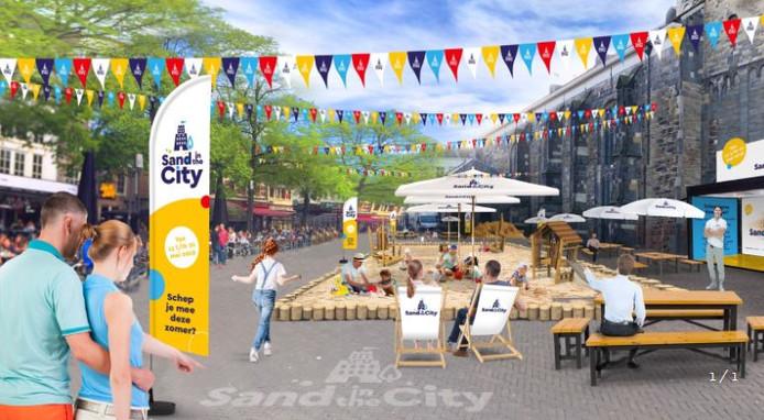 Impressie van de zandbak op de Oude Markt in Enschede