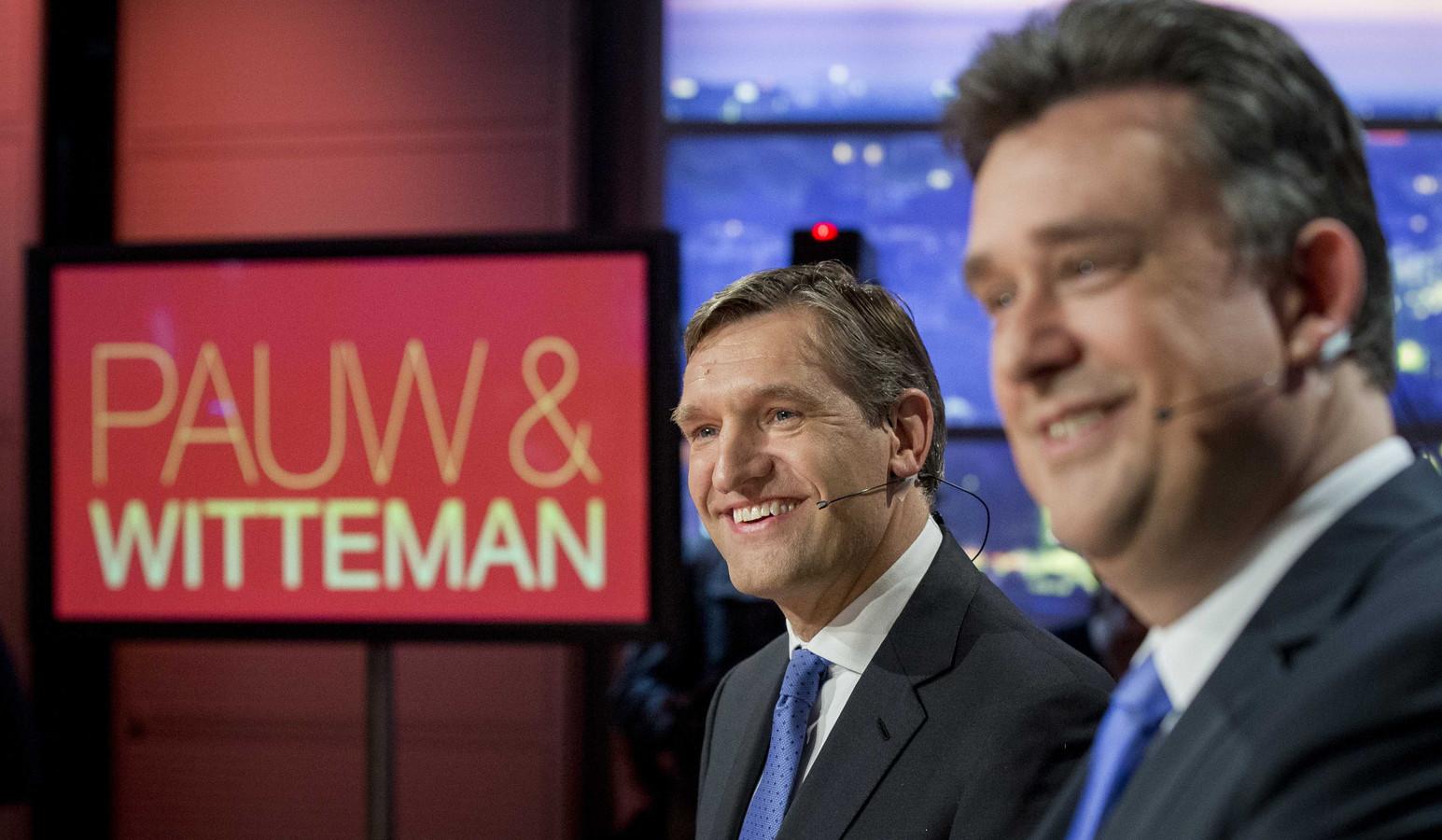 Fractievoorzitter Sybrand Buma (links) met Emile Roemer (SP) bij het verkiezingsdebat in het actualiteitenprogramma Pauw & Witteman,