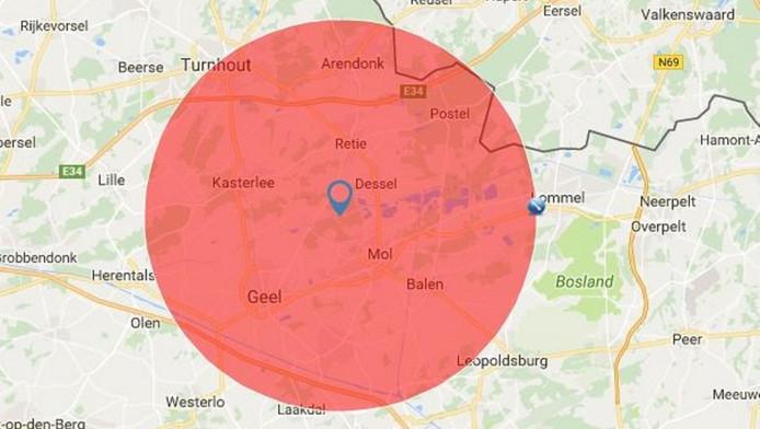 De 15 kilometer-grens rondom de nucleaire zone, die een klein gedeelte van Nederland beslaat