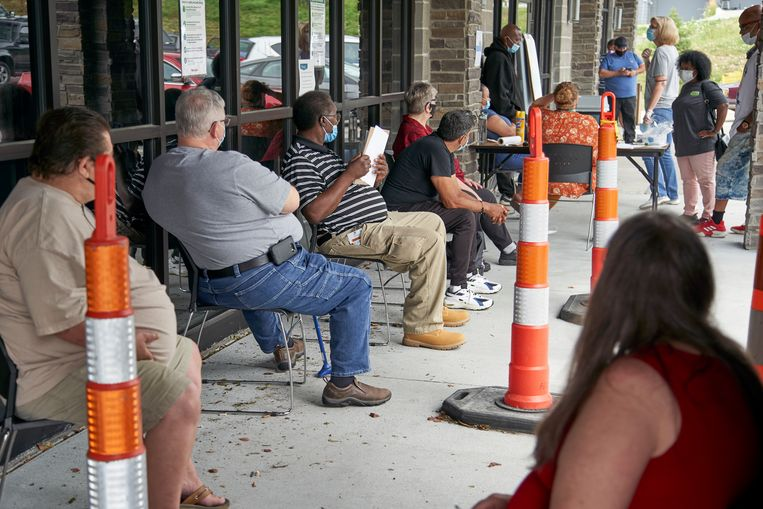 Werklozen in Omaha, Nebraska.  Beeld AP