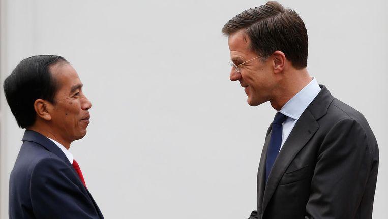 Minister-president Mark Rutte ontvangt president Joko Widodo van Indonesie tijdens zijn tweedaags bezoek aan Nederland, 22 april 2016. Beeld anp