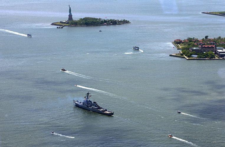 De wateren voor New York, met op de achtergrond het vrijheidsbeeld. Archieffoto.