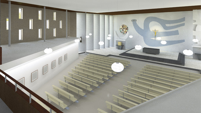 Een impressie van de nieuwe binnenkant van de OLV ten Hemelopneming-kerk in Prinsenbeek na de verbouwing.