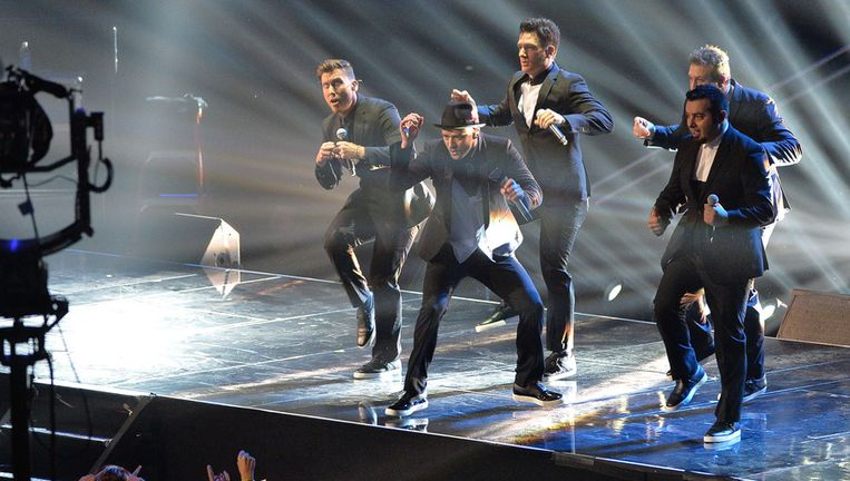'N Sync zondag in New York: Chris Kirkpatrick, Justin Timberlake, Joey Fatone, JC Chasez en Lance Bass. Beeld getty