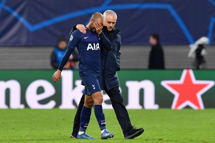 José Mourinho troost na de afgang tegen RB Leipzig Lucas Moura, vorig jaar nog de held van Spurs in Amsterdam.