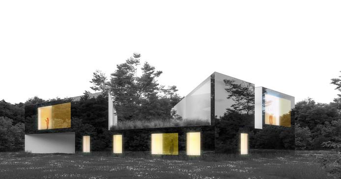 Een impressie van Outside In, het plan voor twee woningen in Bosrijk, Meerhoven, gemaakt door HETHUIS BV en FAAM Architecten.