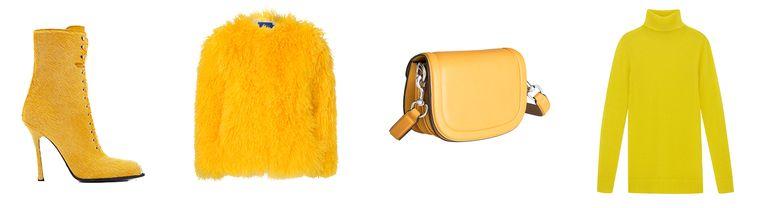Van links naar rechts: ponyharen veterlaarsje van Calvin Klein, prijs op aanvraag, harig jasje van Résumé € 149, schoudertas van &Other Stories € 99, coltrui van COS € 59. Beeld