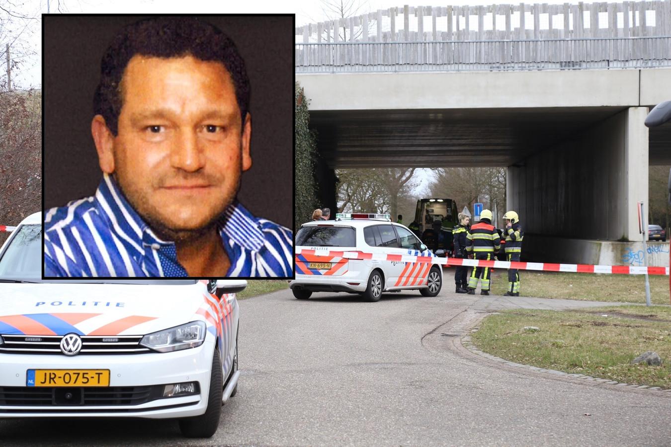 Henk Baum (inzet) en de locatie in Schaijk waar hij werd vermoord.