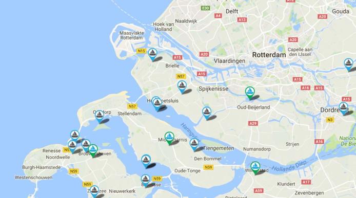 De jachthavens op deze locaties voldoen aan de criteria van de Blauwe Vlag.