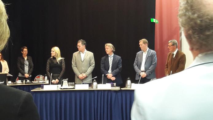 De CDA-fractie tijdens de installatie van de nieuwe gemeenteraad. In het midden lijsttrekker Marc Jeucken.