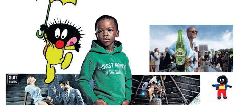 Campagnes en figuren die verontwaardigde reacties oproepen: het jongetje van H&M ('Coolest monkey in the jungle') stripfiguur Stoppeltje, reclame van Suit Supply, Efteling-attractie Monsieur Cannibale en de Heineken-reclame. Beeld