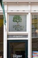 Een levensboom siert de ingang van de natuurvoedingswinkel van Pater in Kampen.