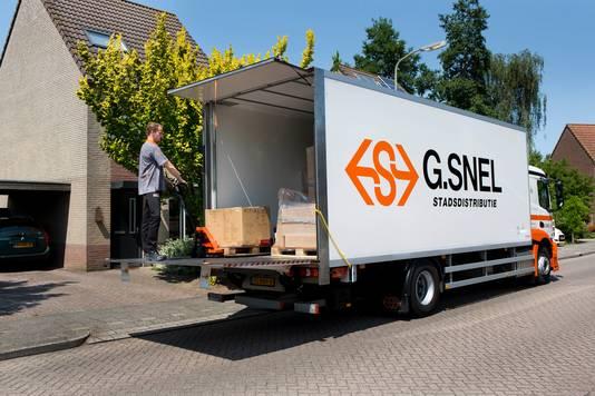 Eén van de vrachtwagens van Snel Logistics.
