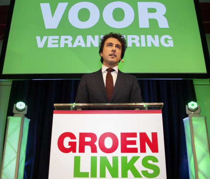 Jesse Klaver van GroenLinks tijdens de uitslagenavond.