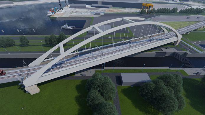 Impressie van de nieuwe brug over de Rozenburgsesluis.