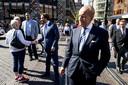 Forum voor Democratie-Kamerleden Theo Hiddema (voorgrond) en Thierry Baudet na afloop van de troonrede in de Grote Kerk op Prinsjesdag.