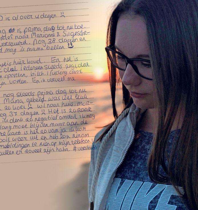 Eva met op de achtergrond een passage uit haar dagboek.